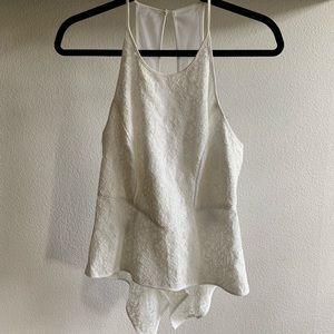 BCBG white lace and mesh peplum tank top